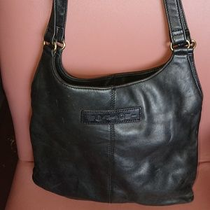 "Fossil handbag black leather 12x14x2.5"" preowned"